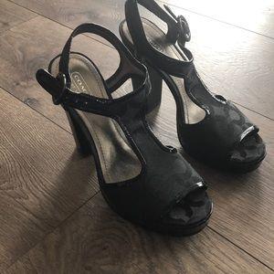 Coach open toe high heel sandal